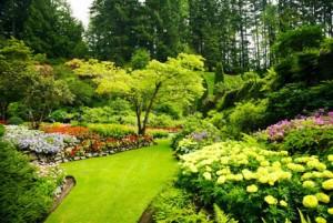 AJ32YH The Sunken Garden Butchart Gardens Victoria Vancouver Island British Columbia Canada